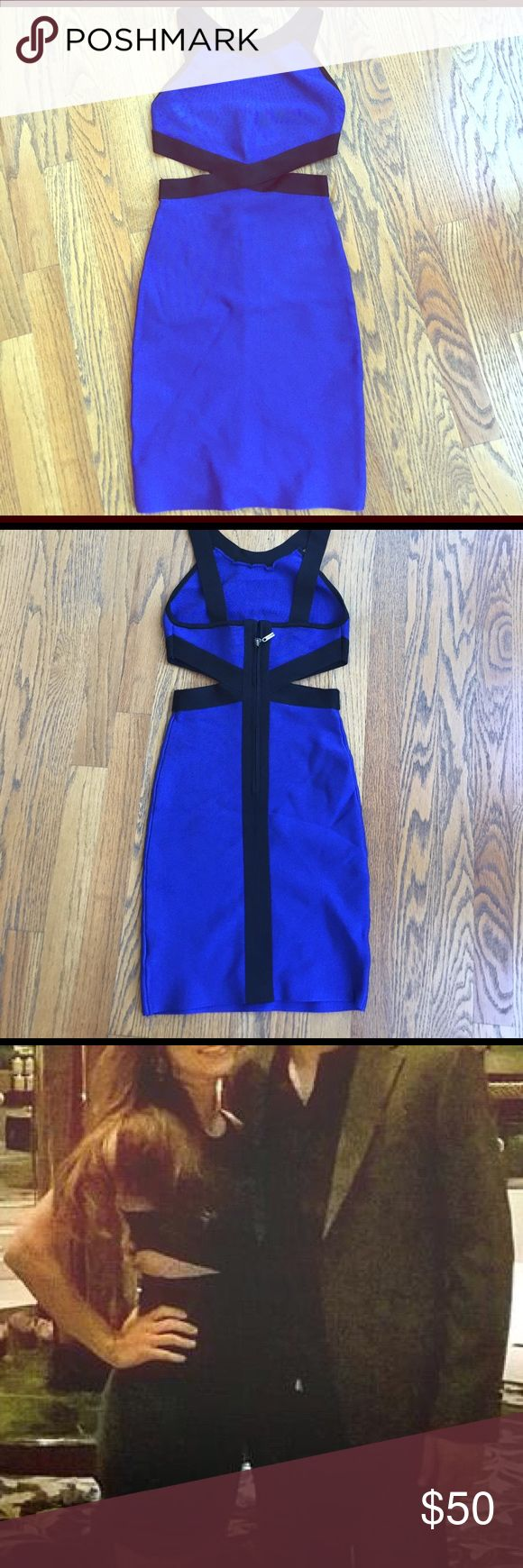 Guess by Marciano royal blue cut out dress Like new ,worn once and dry cleaned.  Size XS. Guess by Marciano Dresses Mini