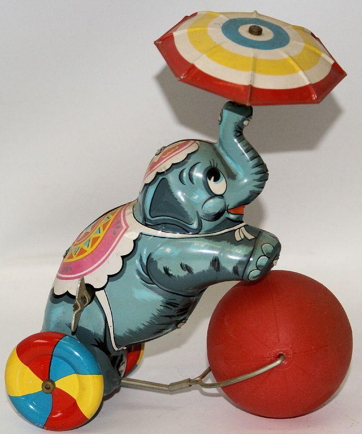 RARE Vintage Tin Litho Mechanical CIRCUS ELEPHANT with ...