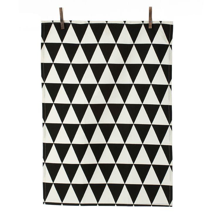 Triangle+Keittiöpyyhe+50x70cm,+Musta,+Ferm+Living