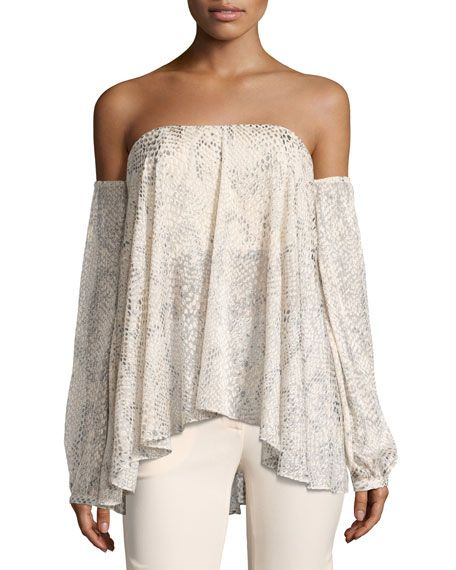 HAUTE HIPPIE My Amour Off-The-Shoulder Blouse, Multi Pattern. #hautehippie #cloth #