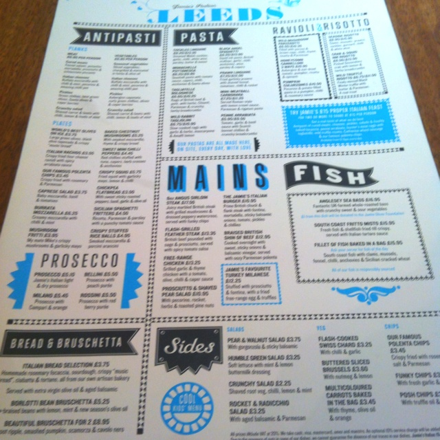 Awesome menu design at Jamie's Italian