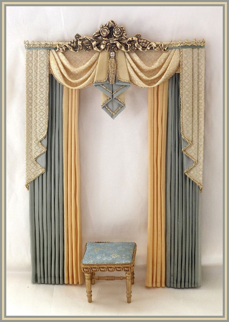 Silk handmade miniature scale dollshouse swags and tails curtains, dressed beds, silk canopies, dressing tables and stools, lamberquins, bedspreads and ...
