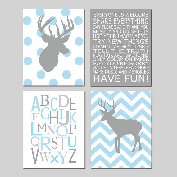 Baby boy nursery art chevron deer nursery prints kids for Boys wall art