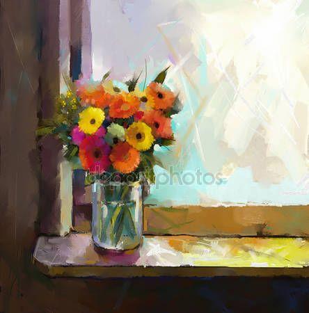 Λήψη - Ζέρμπερες λουλούδι. Αφηρημένες, λουλούδι πετρελαίου ζωγραφική. Νεκρή φύση της ένα βάζο με ένα μπουκέτο λουλούδια — Εικόνες αρχείου #54981383