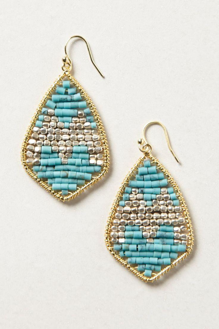 Turquoise Chevron Boho Earrings | Bohemian Jewelry