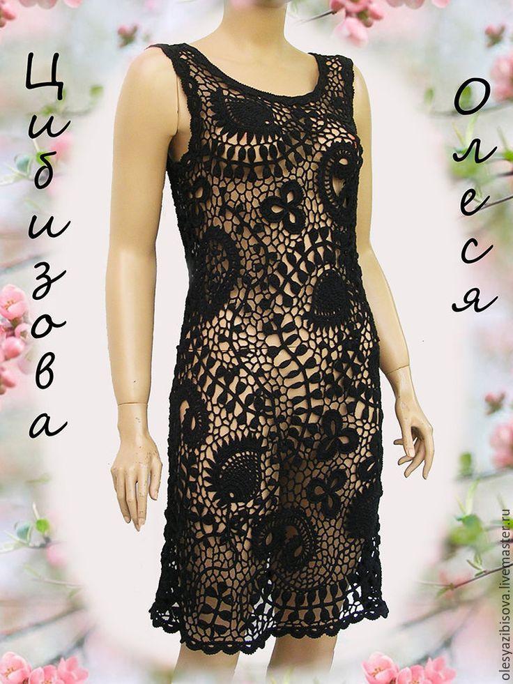 """Купить Вязаное платье крючком """" Ночь в лесу"""" - черный, орнамент, платье, вязаное платье"""