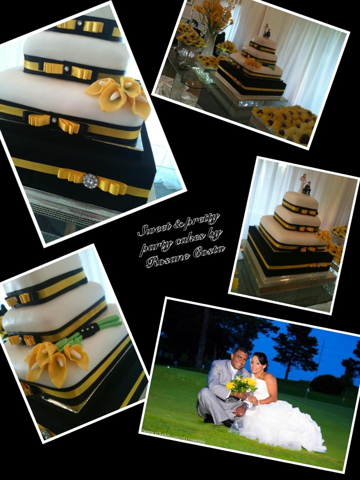 Yellow & black wedding cake