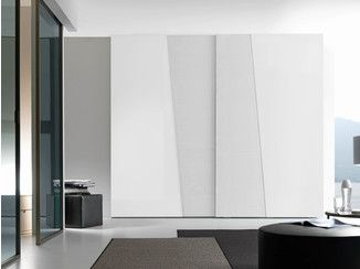 Sectional lacquered wardrobe with sliding doors DIAGONAL