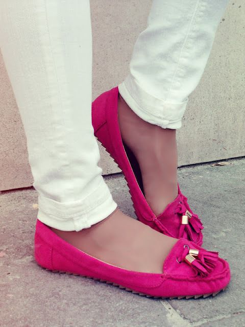 hot pink driving moccasins