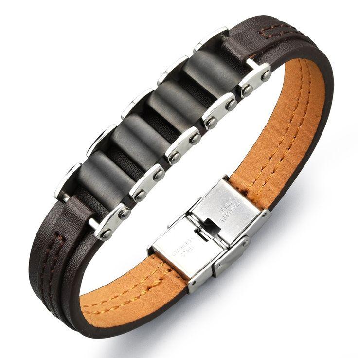 New Cool Mens Bracelets 2017 PU Leather Bracelet Men Boyfriend Gift,Black Titanium Braclets for Women Pulseira De Ouro Masculina