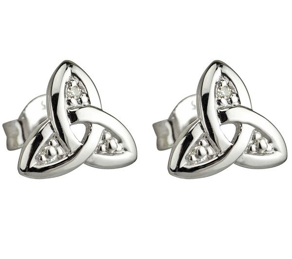 Beautifully expressive. These 14K white gold stud earrings from Solvar showcase a classic trinity knot design with a hint of shimmer from diamond accents. QVC.com