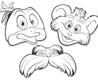 Dr seuss the lorax masks lorax printables coloring printables