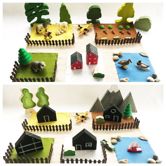 City Zoo Farm Town Playscape Play Mat wool felt by MyBigWorld2015