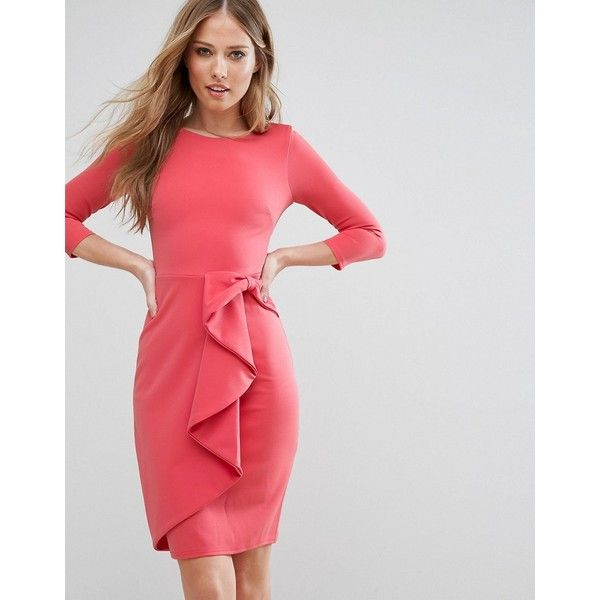 City Goddess 3/4 Sleeve Waterfall Peplum Midi Dress (65 CAD) ❤ liked on Polyvore featuring dresses, pink, pink dress, back zipper dress, peplum dress, tall dresses and pink peplum dress