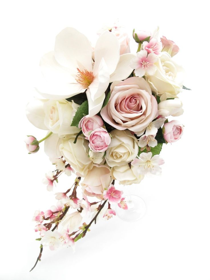 Magnolia, blossom and rose trail bouquet.