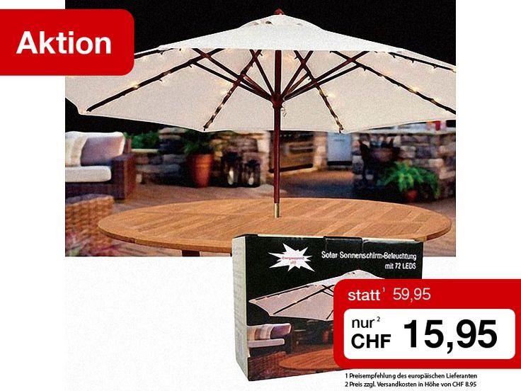 Geniessen Sie Ihr Abendessen auf der Terrasse oder im Garten und lassen Sie den Abend mit einem Glas Wein gemütlich unter der romantischen Sonnenschirm-Beleuchtung ausklingen.  Sie erhalten die Solar-Sonnenschirmbeleuchtung mit 72 LEDs auf 8 Strängen 1 Woche lang zum einmaligen Sonderpreis.  Jetzt zugreifen: http://www.pearl.ch/so/search.do?catc1=3504-12+3002-12&pdid=CHA656&vid=613&wa_id=26&wa_num=1