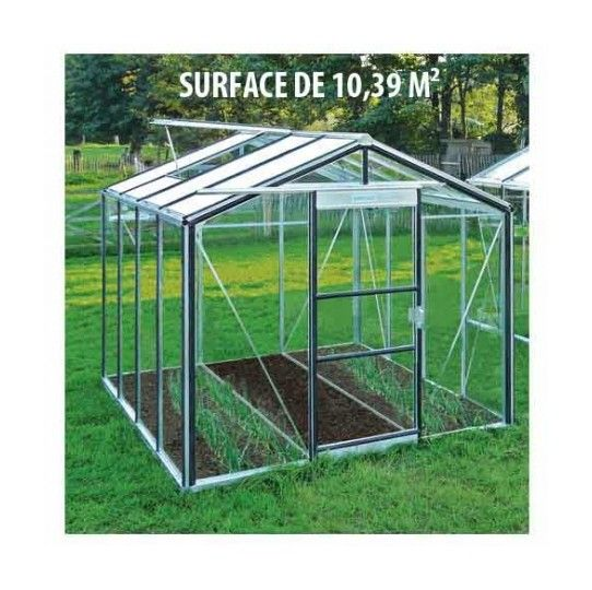 Serre de jardin en verre trempé Royal 26 – 10,39 m², Couleur Rouge, Filet ombrage non, Ouverture auto Oui, Porte moustiquaire Non – longueur : 4m48