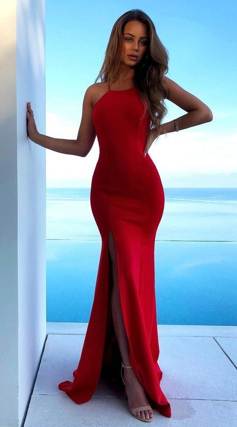 3d23158b73 Gorgeous Red Satin High Neck Mermaid Prom Dress with Lace up Low Cut Back  Woman's Evening Dresses H2584