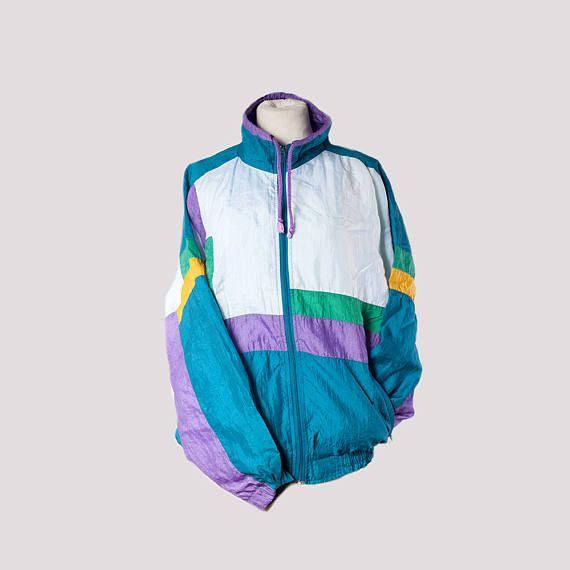 Vintage Nylon Windbreaker 90s Track Jacket, multicolor sportswear