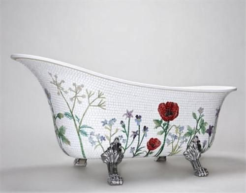 home: Mosaics Bathtubs, Idea, Bath Tubs, Dreams, Clawfoot Tubs, Poppies, Mosaics Tile, Flowers Art, Design