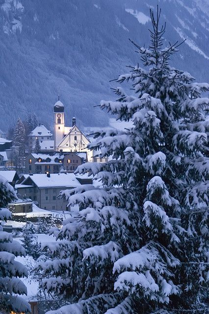 Snowy Dusk, La Iglesia, Switzerland photo via kathy
