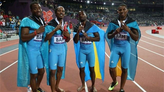 The Bahamas stormed to gold in the men's 4 x 400m Relay final at the Olympic Stadium tonight.