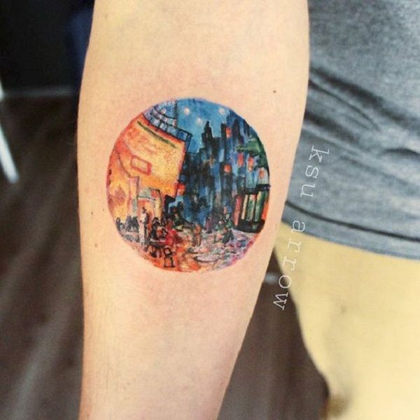 A Cafe Terrace at Night Tattoo by KSU Arrow. Among the number of paintings by Vincent Van Gogh, this Cafe Terrace at night was the one that was equally admired by the people. This This tattoo is the great example of the artist's imagination and superb dealing with the light.