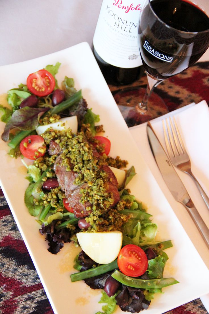 Pistachio and Lemon Crusted Lamb - with warm and Nicoise salad