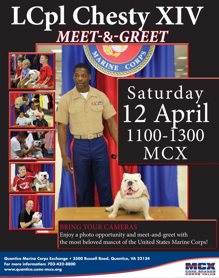 LCpl Chesty XIV Meet-and-Greet, Saturday, 12 April, 1100, Quantico MCX