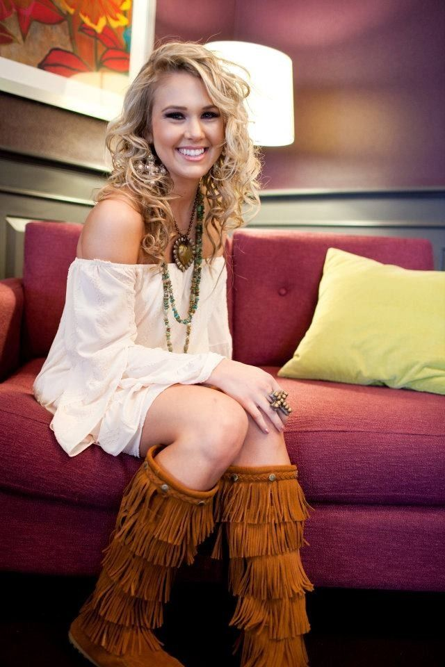 Great jewelry, off the shoulder mini~dress & fringy brown boots aka moccasin boots.
