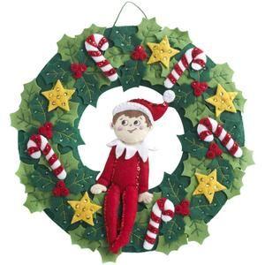 Elf On The Shelf Wreath Felt Applique Kit