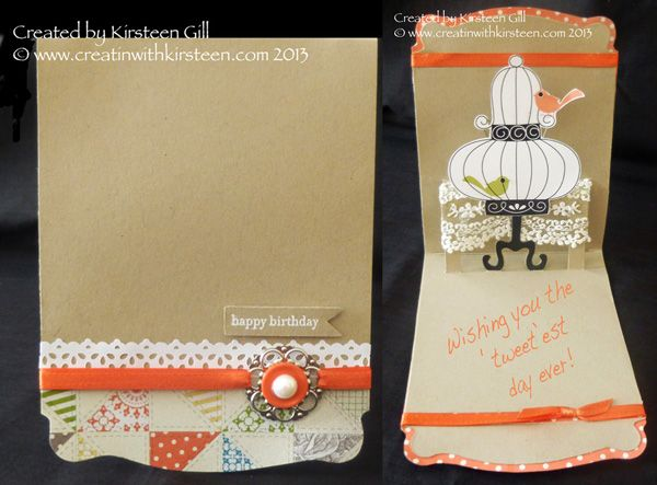 Stampin' Up! Dress form Pop 'n' Cuts - Tweetest Day Aviary Card