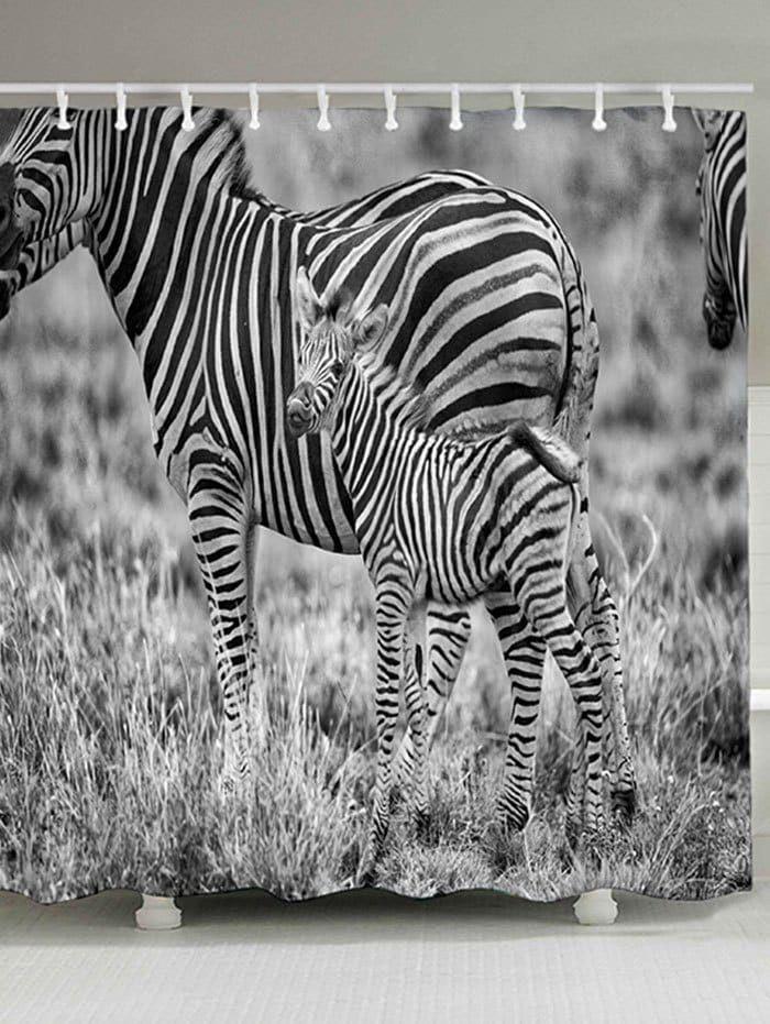 Grassland Animal Zebras Print Shower Curtain -