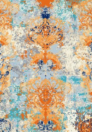 Indian hand knotted rug, made of wool and art silk.
