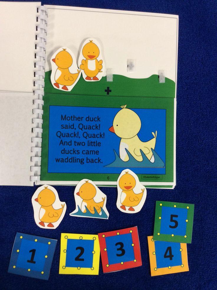 $ Five Little Ducks Flip Book for Preschool and Kindergarten. Interactive pieces keep kids engaged! #speechtherapy #ducks #spring
