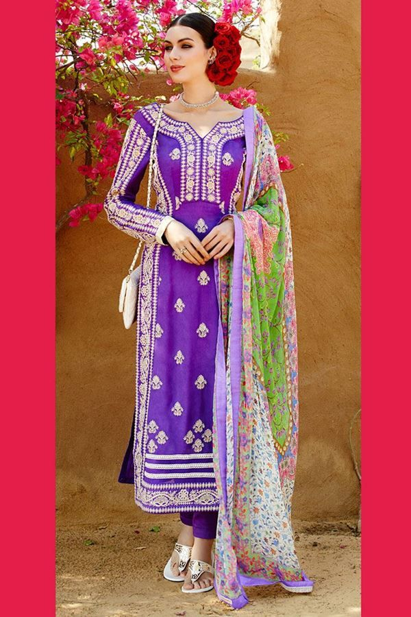Go ethnic with your weekend style this season wearing this purple color suit set from Aishwarya design studio. Vibrantly charming because of the thread embroidery in floral pattern, this georgette suit set can be beautifully flaunted with mojaris and a sleek bracelet. Chiffon printed dupatta accompanied with this suit makes it worth purchasing.This suit is accompanied with unstitched matching fabric which can be stitched into chudidar.