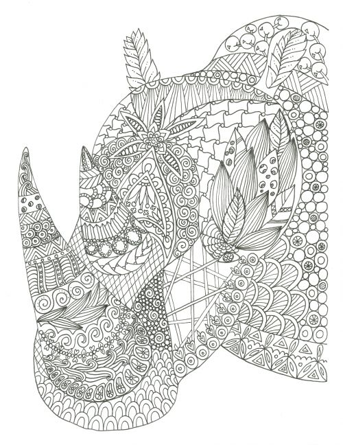 free rhino adult coloring