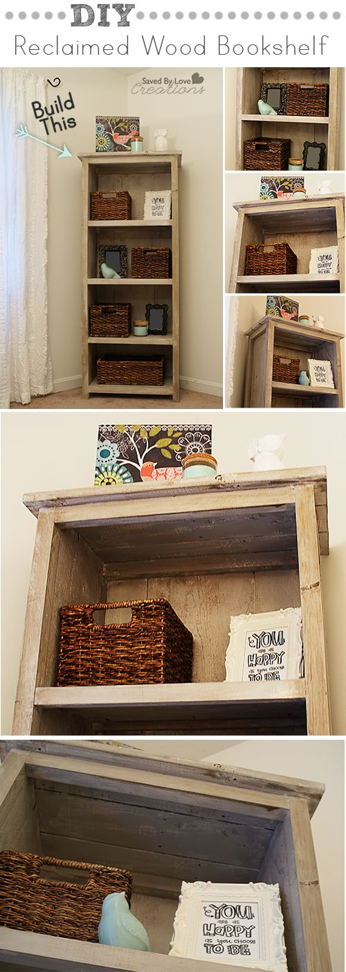 How to build a barnwood Bookcase @Johnnie (Saved By Love Creations) Lanier http://savedbylovecreations.com/2013/08/how-to-build-a-diy-reclaimed-wood-bookshelf.html