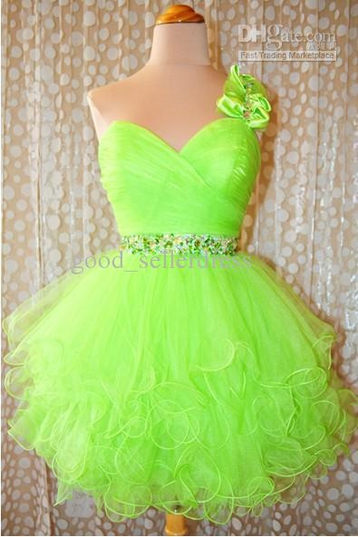Wholesale Real SampleHot Sale Brightly One SHoulder Crystal Ball Gown Corset Short Pleat Sexy Prom Dresses, $62.72-72.8/Piece | DHgate