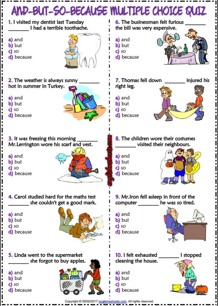 and but so because esl printable multiple choice quiz esl printable grammar worksheet and. Black Bedroom Furniture Sets. Home Design Ideas
