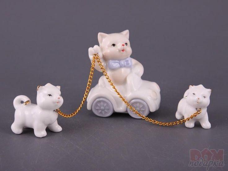 """Комплект фигурок фарфоровых из 3 шт.""""Кошки"""", 7.5 см., Hangzhou, Китай"""