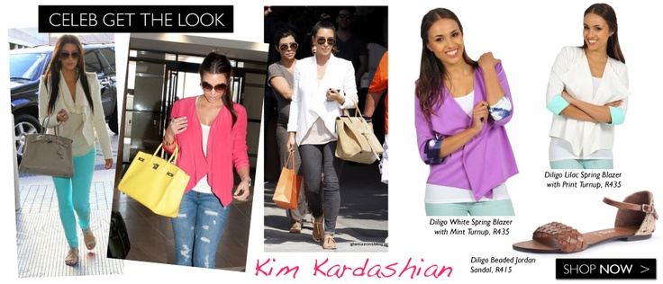 We're having a Kim K lust week. So what better way to start a Friday than with Kim's weekend-chic look! Get her casual-chic style under R500 with our versatile waterfall blazers.