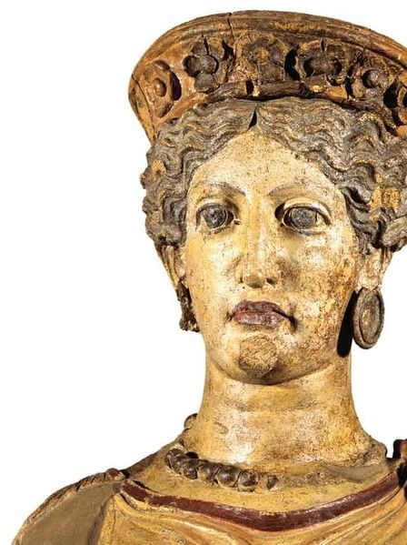 Bust of a terracotta statue, representing the Etruscan goddess Uni. From the second sanctuary falisco of Civita Castellana in town Scasato. Rome, National Etruscan Museum of Villa Giulia.