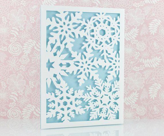 Laser Cut Christmas Card Snowflake Laser Cut Card by MomentidiVita                                                                                                                                                                                 More