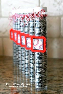 @Renee' Morris-Dezember created this set of team treats using SRM's TUBE and Baseball stickers.  So cute!  Tubes & baseball stickers available on www.srmpress.comSunflowers Seeds, Seeds Tube, Team Gift, Baseball Parties, Gift Ideas, Baseball Party, Parties Favors, Coaches Gift, Basebal Parties