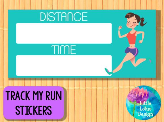 Track My Run - Brunette Printable Planner stickers Blonde, run tracker, Erin condren, Gym stickers, Fitness stickers, Diet, Health