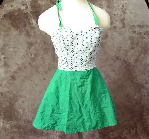 SALE vintage 1950s Bathing suit one piece Green by LaMeowVintage, $30.00