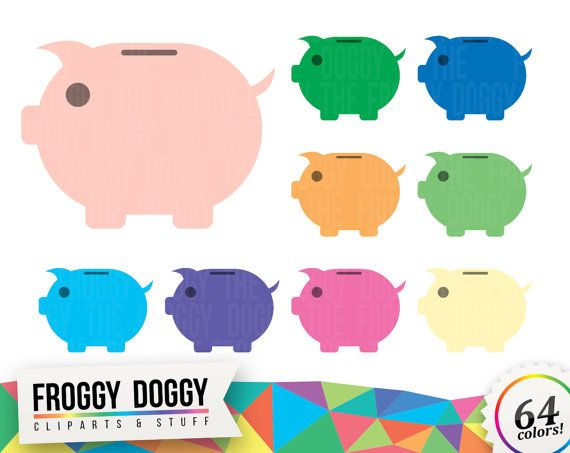 Piggy Bank Clipart, Money Clipart, Savings Clipart, Shopping Clipart, Planner Clipart, Scrapbooking Cliparts