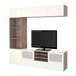 IKEA - BESTÅ, Combinaison rangt TV/vitrines, blanc/Valviken gris-turquoise verre transparent, glissière tiroir, fermeture silence, , Les tiroirs et les portes se referment doucement en silence grâce à la fonction intégrée de fermeture en douceur.Le plateau en verre protège la surface du banc TV et lui donne un aspect brillant.Cette combinaison de rangement avec TV comporte beaucoup de rangement et vous permet de ranger facilement le salon.Vous gagnez de l'espace au sol en exploitant…