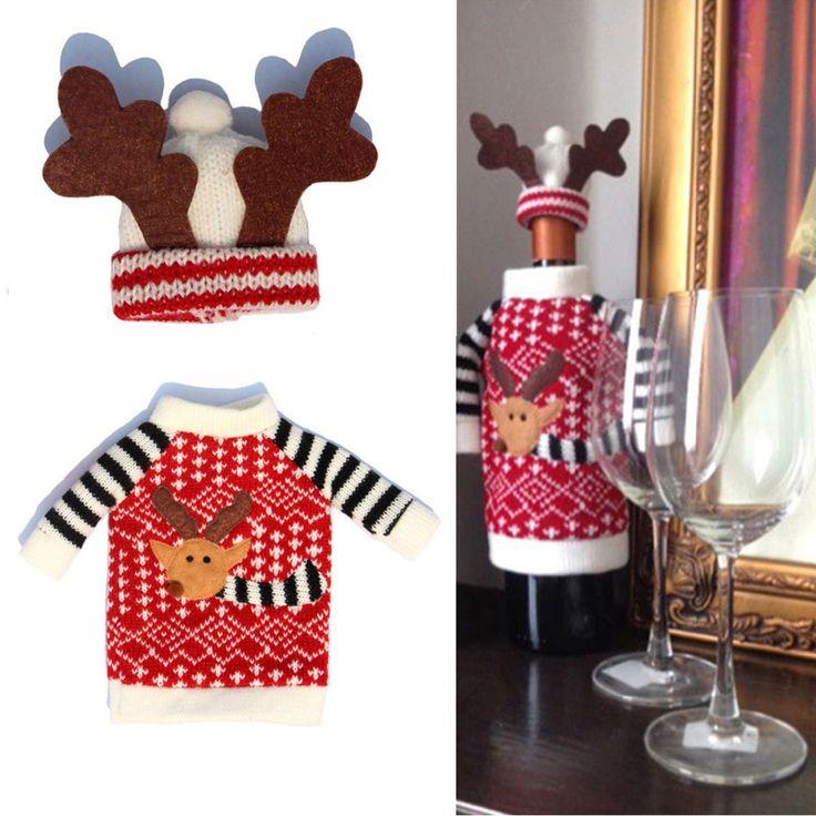 1 Set Wine Bottle Cover Xmas Santa Deer Table Decor Christmas Bottle Cover Cap Party Decoration Gifts